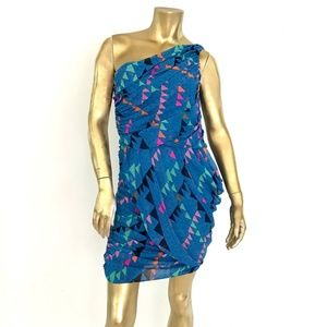 MARA HOFFMAN ONE-SHOULDER SILK BLUE TRIANGLE DRESS